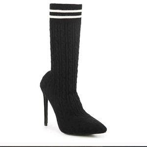 "Liliana tan and white sock booties 4.5"" heel 7US"